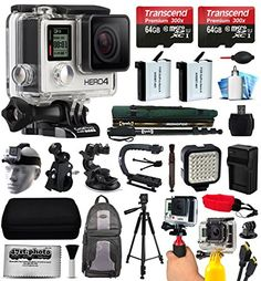 GoPro HERO4 Hero 4 Silver Edition 4K Action Camera Camcorder with 128GB All You Need Accessory Bundle includes 2x Micro SD Cards + 2x Extra Batteries + Home & Car Charger + Card Reader + Backpack Bag + Head Helmet Strap + Chest Harness + Action Stabilizer Hand Handle + Car Suction Cup Mount + Portrait Selfie Stick Monopod + Full Size Tripod + Medium Travel Case + HDMI Cable + LED Video Light + Floating Float Handheld Grip Bobber + Dust Cleaning Kit (CHDHY-401) 47th Street Photo ...