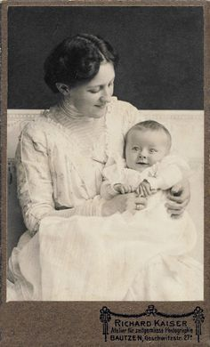 :::::::::: Antique Photograph :::::::::: Mother and child ~ both so happy. c. 1910