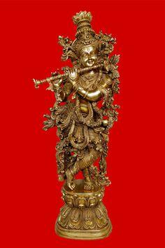 Lord Krishna Brass Statue Sculpture Hindu Religious art