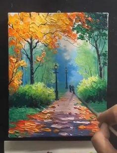Canvas Painting Tutorials, Diy Canvas Art, Diy Painting, Painting Videos, Fall Tree Painting, Painting Lessons, Nature Oil Painting, Road Painting, Realistic Oil Painting
