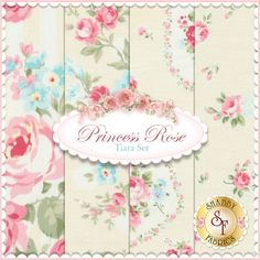 Princess Rose 4 FQ Set - Tiara Set by Lecien Fabrics: Princess Rose is a floral collection by Lecien Fabrics. 100% Cotton. This set contains 4 fat quarters, each measuring approximately 18 x 21.