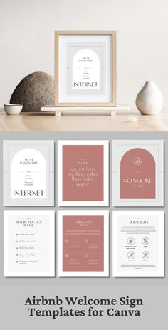 6 templates to create beautiful Airbnb welcome signs. The template is fully editable and available in Canva format, A4 (210x297mm), and US Letter (8.5x11 inches) sizes. #airbnbsign #airbnb #airbnbhost #houseguide #superhost #canva #canvatemplate #vacationrental #homeaway #airbnbsuperhost #Airbnbtips #airbnblife #airbnblove #airbnbguide #guestbook #welcomebook #welcomebooktemplate #airbnbprintable #howtostartanairbnb #housemanual Invoice Design, Brochure Design, Graphic Design Books, Book Design, Sign Templates, Print Templates, Brand Identity Design, Branding Design, Lorem Ipsum Text