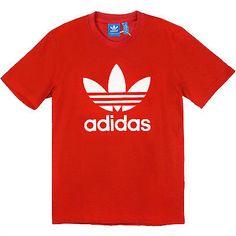 Adidas Originals Trefoil Tee Mens AC0161 Red White S/S Logo T-Shirt Size XL