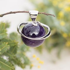 Amethyst Sphere Pendant Amethyst Stone, Leather Necklace, Crystal Jewelry, Healing, Carving, Jewellery, Sterling Silver, Chain, Crystals