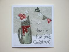 Cat Christmas card Christmas card cat greeting by AlisonWhateley Cat Christmas Cards, Quilted Christmas Ornaments, Christmas Applique, Christmas Sewing, Christmas Embroidery, Handmade Christmas, Freehand Machine Embroidery, Free Motion Embroidery, Fabric Postcards