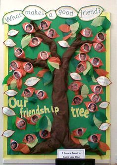 "What makes a good friend? A friendship tree. this is a good activity to encourage the children to think of what makes a good friend and sharing it on a ""friendship tree"". This also allows the children to work in groups, brainstorm ideas and share ideas with their friends."