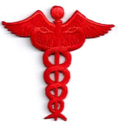 Caduceus Medical Emblem Red Embroidered Iron On Applique