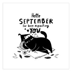 Funny quote with cute black cat autumn illustration | find it in Gabi Toma's Artist Shop #borninseptember #september Cute Cat Illustration, Autumn Illustration, Hello September, Cute Black Cats, Special Characters, Lower Case Letters, Fine Art Paper, Funny Quotes, Fine Art Prints