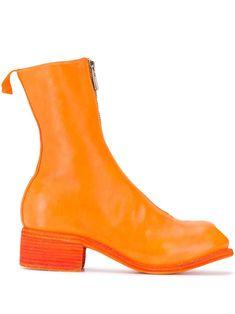 Orange Fashion, Orange Leather, World Of Fashion, Fashion Boots, Block Heels, Leather Boots, Rubber Rain Boots, Women Wear, Zip