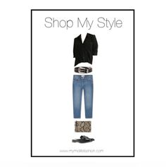Black shirt teamed with studded statement belt, cropped jeans, backless mules & snakeprint clutch