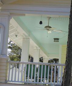 Light blue paint on porch ceilings.