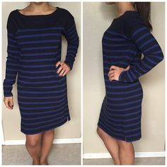 """Ralph Lauren Blue & Black Stripe Dress Preloved dress, in great condition. Denim & Supply Ralph Lauren. Navy blue and black horizontal stripes. Long sleeves, 100% cotton. Round neck. Soft and comfortable! Length is 35.5"""", across chest - armpit to armpit is 20"""". ❌NO TRADES OR PAYPAL❌ Ralph Lauren Dresses"""