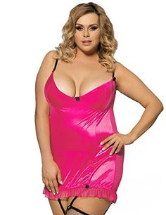 Plus Size Hollow Out Back Sexy Sleepwear With G StringGarter Belt Pink L * Find out more about the great product at the image link.