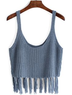 Shop Spaghetti Strap Fringe Blue Cami Top at ROMWE, discover more fashion styles online. Crochet Crop Top, Knitted Tank Top, Crochet Clothes, Diy Clothes, Romwe, Bikinis Crochet, Blue Vests, Indian Designer Outfits, Outfits