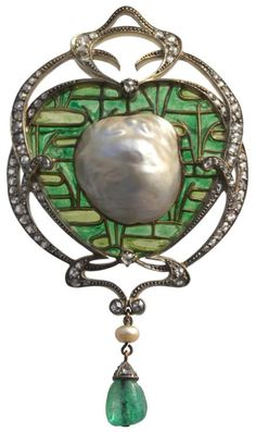 Fonseque et Olive impressive Art Nouveau brooch/pendant.  France.  Circa 1895.  Designed by Emile Olive. An exceptional example of the fusion of Japonisme & French Art Nouveau. The plique-à-jour ground representing a lily pond in the Japanese cloissoné manner, supporting a magnificent blister pearl set in a gold & diamond Art Nouveau mount. Listing via 1stdibs.