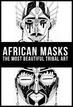 African Tribal Mask Drawing    This is a collection of African mask drawings inspired by African tribal art. African masks are magical and one of the most powerful symbol of ancient African ancestors. Are you looking for African masks and African line art for inspiration? These artworks are part of an art series created to represent a contemporary approach to traditional African mask art.
