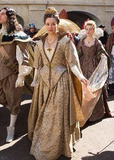 King Louis XIII and Queen Anne - Ryan Gage and Alexandra Dowling in The Musketeers, set in the (BBC TV series). Moda Medieval, Medieval Dress, Medieval Clothing, Period Costumes, Movie Costumes, Historical Costume, Historical Clothing, 17th Century Fashion, Movies And Series