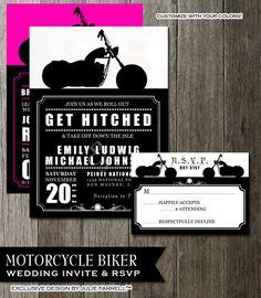 Biker Motorcycle Wedding Invitation DIY Printable Digital Invite and RSVP Card for your wedding