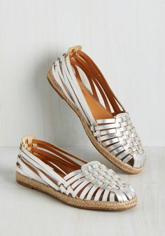 Nifty Flat in Silver. Call these silver sandals by Seychelles what you will - we know your fashion vocab can do their daring design justice! #silver #modcloth