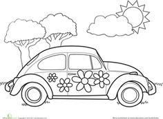 Preschool Vehicles Worksheets: VW Bug Coloring Page