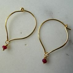 Ruby hoop earrings, lotus petal earrings, Ruby drop earrings, July birthstone, interesting earrings, day to evening, hypoallergenic - pinned by pin4etsy.com