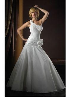 Casual Court Train Ball Gown Sleeveless Satin One Shoulder Wedding Dresses - Wedding Dresses