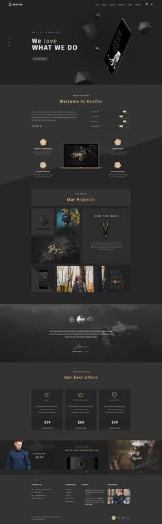 Bonfire – Creative Multi-Purpose PSD Template We are very happy to present to you Bonfire, the multipurpose PSD template! Comes with 14 stunning Pre-defined Homepages, Bonfire fits for a ra. Web Design Black, Graphisches Design, Page Design, Portfolio Web Design, Portfolio Website, Fashion Portfolio, Portfolio Examples, Portfolio Layout, Online Portfolio