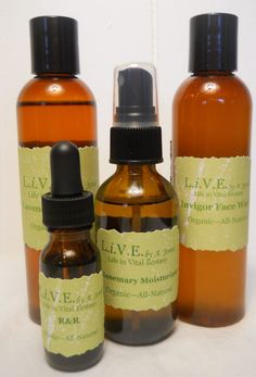 Organic All-Natural Skin Care Set - 4oz Toner, 4oz Face Wash, 2oz Moisturizer, .5oz Anti-Aging/Skin Serum. $26.00, via Etsy.