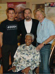 What a power house! Brad Pitt, John Paul DeJoria, Richard Branson and Nelson Mandela  www.paul-mitchell.co.uk