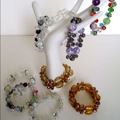 Colorful crystal-stretch bracelet. Handmade with delicate crystal shapes and designs. Jewelry Bracelets