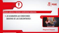 Conseguimos igualar las condiciones laborales de subcontratados para que el mismo trabajo no suponga distintos derechos #SeguimosTrabajando #PSOE