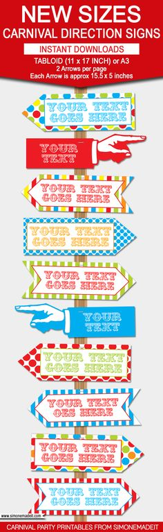 DIY Carnival Directional Sign | Editable Templates | Carnival Party Signs | Carnival or Theme | Birthday Party Decorations | via SIMONEmadeit.com