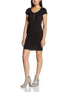 12, Black, New Look Women's Zip Front Cap Bodycon Short Sleeve Body Con Dress NE