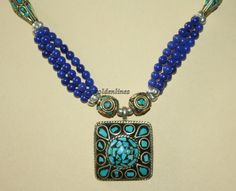 Tibetan Nepalese onyx Turquoise Necklace 21 inches by goldenlines