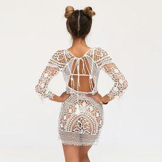 White Crochet Dress Open Back Swimsuit Cover See Thru Tassel Tie Three Quarter Sleeve Mini One Size