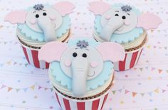 Elephant Cupcakes,would be cute for a Baby's Shower or Birthday. Cupcakes by Good to Know Recipes I(Heart)Cake Decorating Fondant Elephant, Elephant Cupcakes, Animal Cupcakes, Circus Cupcakes, Fancy Cupcakes, Birthday Cupcakes, Sweet Cupcakes, 2nd Birthday, Birthday Ideas