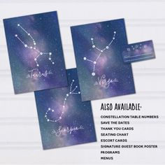 Also available, and soon to be listed on their own, did you know that I also offer matching table numbers (like these super cute zodiac constellation ones that match my under the stars wedding invitation set?)  Constellation Table Numbers, Printable Zodiac Wedding Decor, Galaxy Themed Reception, Under the Stars Wedding, Outdoor Wedding Reception
