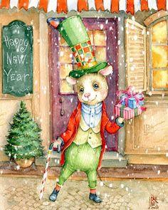 Мыши на улице. Пишем стишки! #postcard #illustration #watercolor #ingasmg #mouse #winter #праздник #мышь #новыйгод #новый_год #символгода… Christmas Scenes, Christmas Ornaments, Classroom Clipart, Decoupage Paper, Christmas Pictures, Happy New, Vintage Christmas, Illustration Art, Clip Art