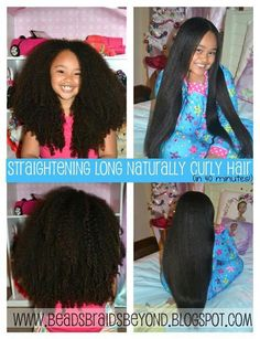 straightening long naturally curly hair in 40 minutes