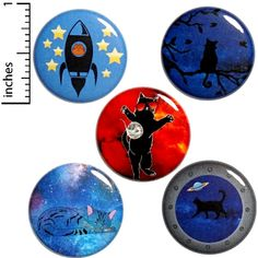 This funny cat space button 5 pack is a pretty epic combination of total and utter silliness, cuteness, and general absurdity. It makes a great, silly/awesome gift!:) All buttons have the same pin-back closure shown in the picture of the back of the button (stock photo of the back).We offer funny
