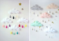Ideas For Diy Dco Chambre Bebe Cloud Mobile Felt Crafts, Diy And Crafts, Crafts For Kids, Arts And Crafts, Sweet Home Design, Home Design Diy, Cloud Mobile, Sewing Projects, Craft Projects