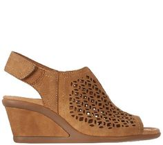 Earth Leather Wedge Sandals with Cut-Out Details - Cascade - A272378 — QVC.com