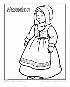 First Grade People Community & Cultures Worksheets: Multicultural Coloring: Sweden