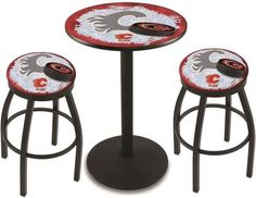 Calgary Flames NHL Black Pub Table Set