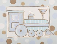 My First Train Hand Painted Stretched Canvas Art - Jack and Jill Boutique