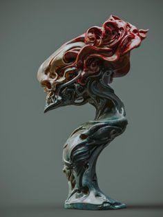 ArtStation - Mask and skull, Zhelong Xu Alien Concept, Concept Art, Bronze Sculpture, Sculpture Art, Skull Reference, Creature Picture, Organic Sculpture, Horror Art, Creature Design