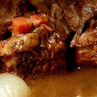 Hearty beef stew is richer when slow cooked with a good red wine. # ...