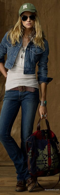 LOVE - except for the cropped jacket. Ralph Lauren Denim & Supply Stretch Slim Bootcut Jean