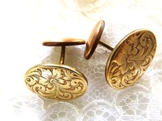 Beautiful old brass floral motif cuff links. Brass Cuff, Handsome Man, Man Stuff, Floral Motif, Vintage Accessories, Flower Patterns, Cufflinks, Buy And Sell, Flowers