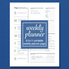 Weekly Schedule and To-Do List, Meal Plan and Goal Tracker - Printable Planner Page - Standard Letter Size - Perpetual Calendar Weekly Planner Printable, Weekly Schedule, Planner Inserts, Letter Size, Diy Organization, Filofax, As You Like, Meal Planning, Printables